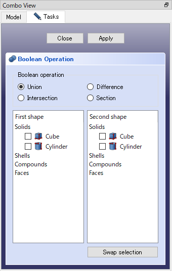 FreeCAD: How to execute a boolean operation between solids