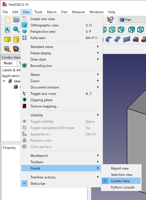 FreeCAD: How to use each GUI panel? - XSim