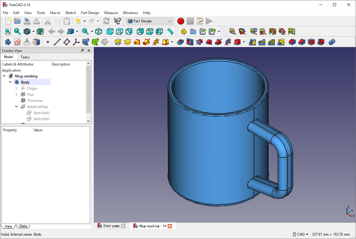 FreeCAD: Tutorial Mug (1/3) - XSim